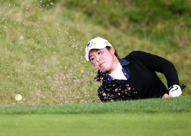 GLENEAGLES, SCOTLAND - SEPTEMBER 28:  Cassy Isagawa of the USA team in a bunker at the eighteenth during the second day of play at the Junior Ryder Cup at Gleneagles on September 28 2010 near Muirton, Scotland. (Photo by Ian MacNicol/Getty Images)