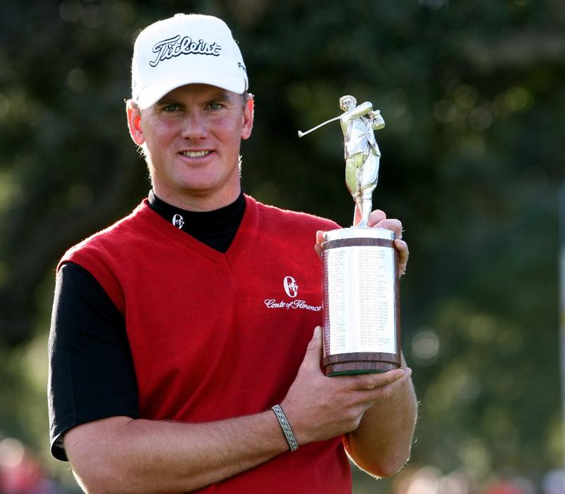 SOTOGRANDE, SPAIN - NOVEMBER 02:  Robert Karlsson of Sweden poses with the Harry Vardon trophy after winning the European Tour Order of Merit after the final round of the Volvo Masters at the Valderrama Golf Club on November 2, 2008 in Sotogrande, Spain.  (Photo by Ross Kinnaird/Getty Images)