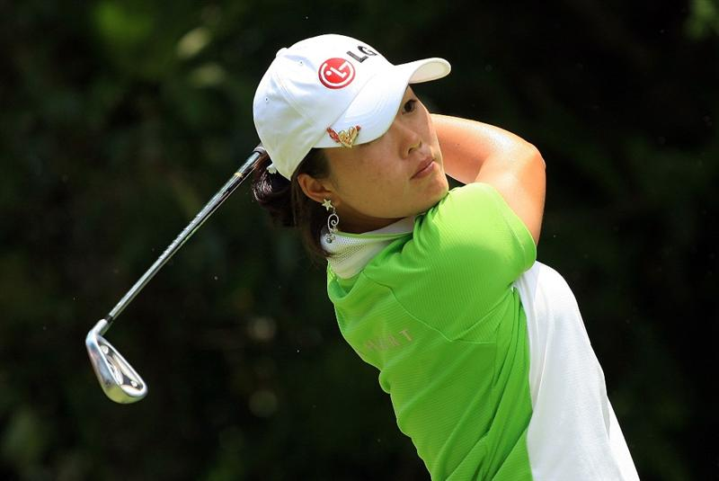 SINGAPORE - MARCH 08:  Angela Park of Brazil hits her tee shot on the ninth hole during the final round of the HSBC Women's Champions at the Tanah Merah Country Club on March 8, 2009 in Singapore  (Photo by Scott Halleran/Getty Images)