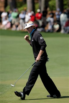AUGUSTA, GA - APRIL 13:  Brandt Snedeker celebrates his eagle putt on the second green during the final round of the 2008 Masters Tournament at Augusta National Golf Club on April 13, 2008 in Augusta, Georgia.  (Photo by Harry How/Getty Images)