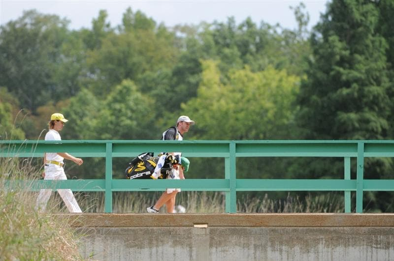 ST. LOUIS - SEPTEMBER 07 : Camilo Villegas walks across the bridge to the 8th tee  during the fourth and final round  of the BMW Championship held at Bellerive Country Club on September 7, 2008 in St. Louis, Missouri. (Photo by Marc Feldman/Getty Images)