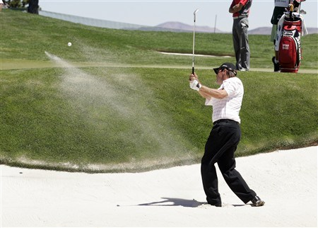 RENO, NV - AUGUST 03: Brian Davis of England chips out of a 1st hole bunker during the final round of the Legends Reno-Tahoe Open at the Montreux Golf & Country Club on August 3, 2008 in Reno, Nevada. (Photo by Max Morse/Getty Images)