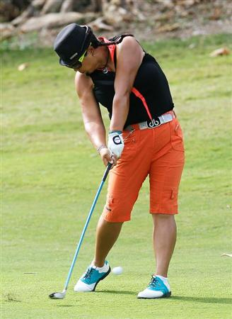 MONTEGO BAY, JAMAICA - APRIL 16:  Christina Kim of the United States plays her second shot from the second fairway during the quarterfinals of The Mojo 6 Jamaica LPGA Invitational at Cinnamon Hill Golf Course on April 16, 2010 in Montego Bay, Jamaica.  (Photo by Kevin C. Cox/Getty Images)