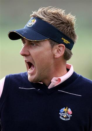 NEWPORT, WALES - SEPTEMBER 30:  Ian Poulter of Europe reacts during a practice round prior to the 2010 Ryder Cup at the Celtic Manor Resort on September 30, 2010 in Newport, Wales.  (Photo by Ross Kinnaird/Getty Images)