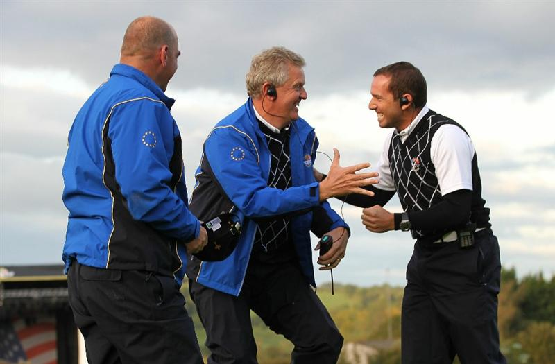 NEWPORT, WALES - OCTOBER 03:  Europe Captain Colin Montgomerie (L) celebrates with Vice Captain Sergio Garcia during the  Fourball & Foursome Matches during the 2010 Ryder Cup at the Celtic Manor Resort on October 3, 2010 in Newport, Wales.  (Photo by Jamie Squire/Getty Images)