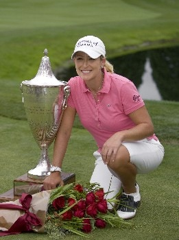 PORTLAND, OR - AUGUST 24: Cristie Kerr poses with the trophy following her sudden death win with a birdie putt at the 18th hole during the final round of the LPGA Safeway Classic at the Columbia Edgewater Country Club on August 24, 2008 in Portland, Oregon. (Photo by Steven Gibbons/Getty Images)