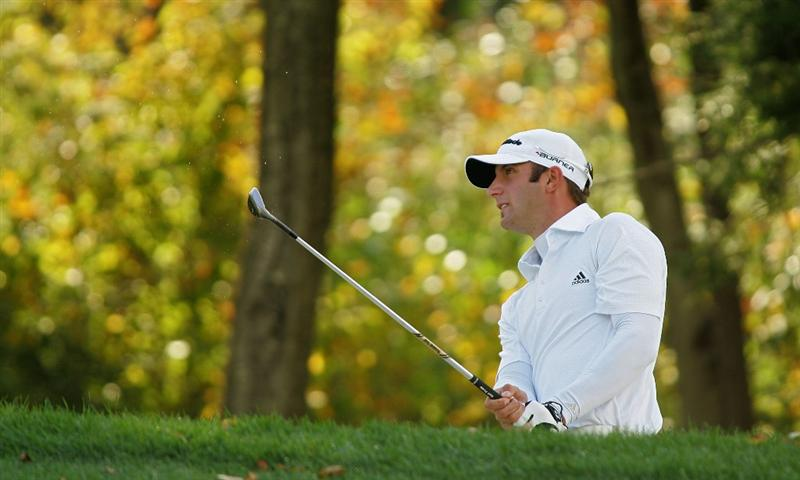 VERONA, NY - OCTOBER 05: Dustin Johnson plays his second shot on the 16th hole during the final round of the Turning Stone Resort Championship at Atunyote Golf Club held on October 5, 2008 in Verona, New York. (Photo by Michael Cohen/Getty Images)