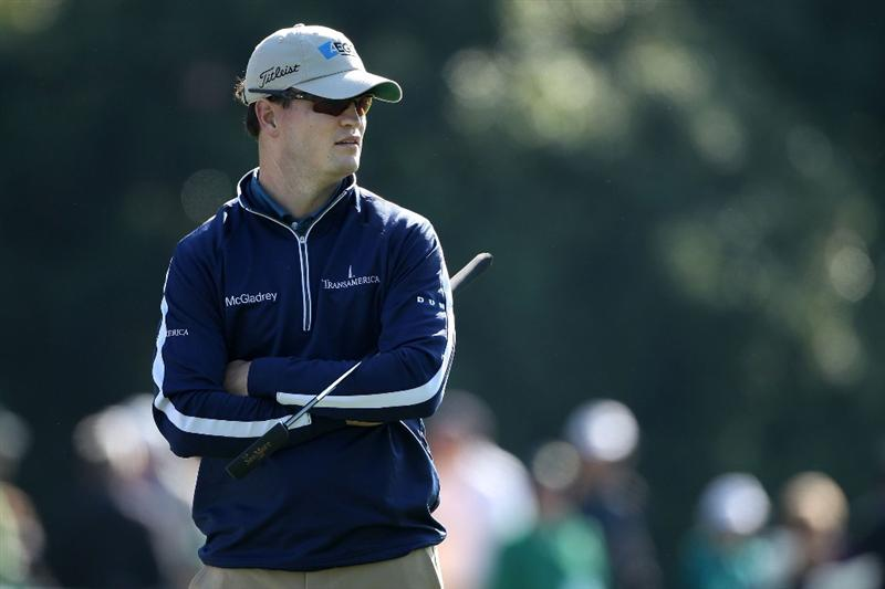 AUGUSTA, GA - APRIL 09:  Zach Johnson looks on from the first hole during the second round of the 2010 Masters Tournament at Augusta National Golf Club on April 9, 2010 in Augusta, Georgia.  (Photo by Andrew Redington/Getty Images)