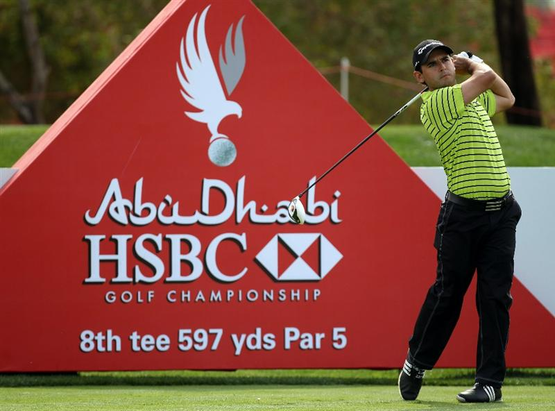 ABU DHABI, UNITED ARAB EMIRATES - JANUARY 20: Fabrizio Zanotti of Paraguay during the first round of the Abu Dhabi HSBC Golf Championship at the Abu Dhabi Golf Club on January 20, 2011 in Abu Dhabi, United Arab Emirates.  (Photo by Ross Kinnaird/Getty Images)