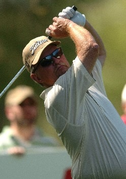 Bob Eastwood follows the flight of his tee shot on the 16th hole during the second round of the Champions' Tour 2005 SBC Classic at  the Valencia Country Club in Valencia, California March 12, 2005.
