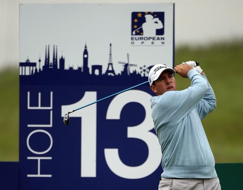 ASH, UNITED KINGDOM - MAY 28:  Ben Curtis of the USA tees off on the 13th hole during the first round of The European Open on May 28, 2009 at The London Golf Club in Ash, England.  (Photo by Andrew Redington/Getty Images)