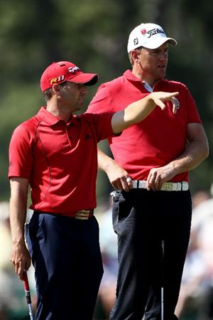 AUGUSTA, GA - APRIL 07:  Sergio Garcia of Spain (L) chats with Robert Karlsson of Sweden during the first round of the 2011 Masters Tournament at Augusta National Golf Club on April 7, 2011 in Augusta, Georgia.  (Photo by Andrew Redington/Getty Images)