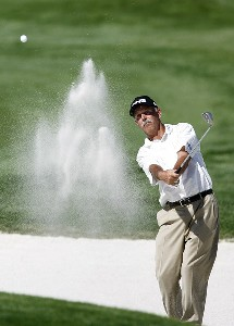 Mark James blasts out of the sand trap in front of the 18th green during the first round of the 2007 ACE Group Classic Friday, February 23, 2007, at Quail West in Naples, Florida. Champions Tour - The 2007 ACE Group Classic - First RoundPhoto by Kevin C.  Cox/WireImage.com