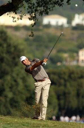 SOTOGRANDE, SPAIN - OCTOBER 28:  Alvaro Quiros of Spain plays into the 7th green during the first round of the Andalucia Valderrama Masters at Club de Golf Valderrama on October 28, 2010 in Sotogrande, Spain.  (Photo by Richard Heathcote/Getty Images)