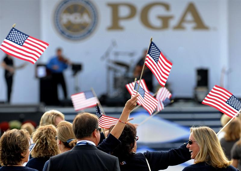 LOUISVILLE, KY - SEPTEMBER 18:  USA team supporters walk out to the opening ceremony during the 2008 Ryder Cup at Valhalla Golf Club on September 18, 2008 in Louisville, Kentucky.  (Photo by Harry How/Getty Images)
