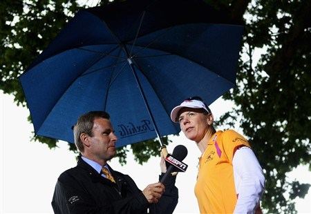 SUNNINGDALE, UNITED KINGDOM - AUGUST 03:  Annika Sorenstam of Sweden is pictured being interviewed by ESPN after competing in her last major championship during the final round of the 2008 Ricoh Women's British Open held on the Old Course at Sunningdale Golf Club on Ausgust 3, 2008 in Sunningdale, England.  (Photo by Warren Little/Getty Images)