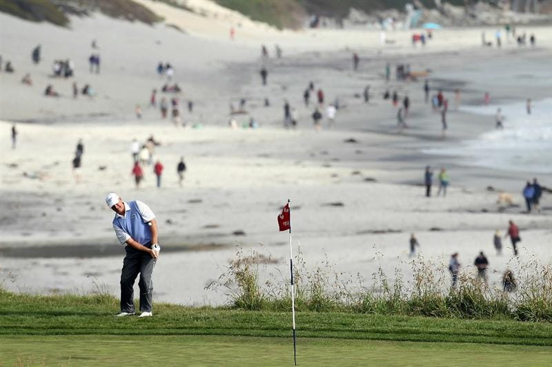 PEBBLE BEACH, CA - JUNE 19:  Ernie Els of South Africa putts on the ninth hole during the third round of the 110th U.S. Open at Pebble Beach Golf Links on June 19, 2010 in Pebble Beach, California.  (Photo by Ross Kinnaird/Getty Images)