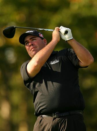 VERONA, NY - OCTOBER 03:  Kevin Stadler tees off on the 17th hole during the third round of the 2009 Turning Stone Resort Championship at Atunyote Golf Club held on October 3, 2009 in Verona, New York.  (Photo by Chris Trotman/Getty Images)