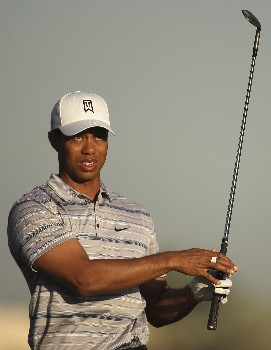DUBAI, UNITED ARAB EMIRATES - JANUARY 30:  Tiger Woods of the USA watches his shot on the 3rd fairway during the pro-am event prior to the Dubai Desert Classic on the Majlis Course held at the Emirates Golf Club on January 30, 2008 in Dubai,United Arab Emirates.  (Photo by Ross Kinnaird/Getty Images)