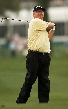 Billy Mayfair hits from the 10th fairway  during the first round of the 2005 Shell Houston Open at the Redstone Golf Club in Houston, Texas April 21, 2005.Photo by Steve Grayson/WireImage.com