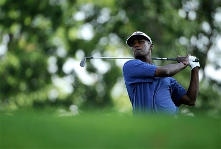 AKRON, OH - AUGUST 03:  Vijay Singh of Fiji hits on the 15th hole during the final round of the WGC-Bridgestone Invitational at Firestone Country Club South Course on August 3, 2008 in Akron, Ohio.  (Photo by Sam Greenwood/Getty Images)