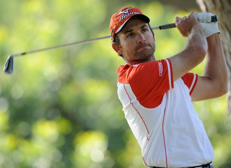 CASTELLON DE LA PLANA, SPAIN - OCTOBER 24:  Ignacio Garrido of Spain plays his tee shot on the first hole during the final round of the Castello Masters Costa Azahar at the Club de Campo del Mediterraneo on October 24, 2010 in Castellon de la Plana, Spain.  (Photo by Stuart Franklin/Getty Images)