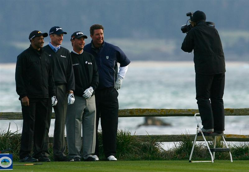 PEBBLE BEACH, CA - FEBRUARY 14:  (L-R) Lynn Swann, Jim Furyk, Chris DiMarco and Dan Marino pose for a portrait on the 18th tee box during the third round of the AT&T Pebble Beach National Pro-Am at the Pebble Beach Golf Links on February 14, 2009 in Pebble Beach, California.  (Photo by Jeff Gross/Getty Images)