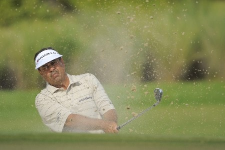 NAPLES, FL - FEBRUARY 17: Brad Bryant hits out of a green side bunker on the first hole during the final round of the ACE Group Classic at Quail West February 17, 2008 in Naples, Florida. (Photo by Scott A. Miller/Getty Images)