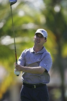 Mike Weir hits from the 12th tee in the third round of the Ford Championship at Doral in Miami, Florida. March 5, 2005
