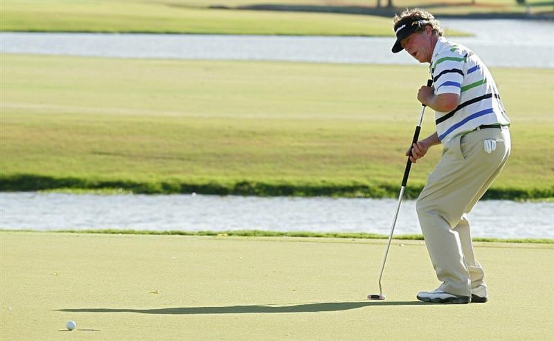 MADISON, MS - OCTOBER 02:  Michael Allen reacts to his missed eagle putt on the 18th green during the third round of the Viking Classic held at Annandale Golf Club on October 2, 2010 in Madison, Mississippi.  (Photo by Michael Cohen/Getty Images)