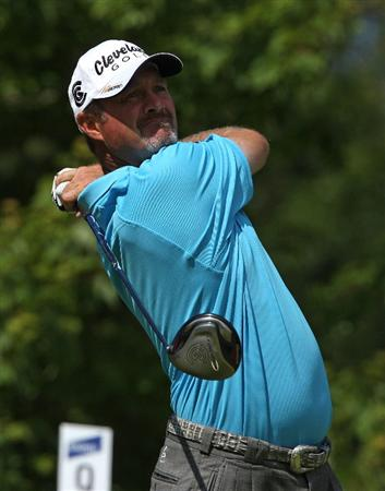 MILWAUKEE - JULY 19: Jerry Kelly tees off on the 10th hole during the final round of the U.S. Bank Championship on July 19, 2009 at the Brown Deer Park golf course in Milwaukee, Wisconsin. (Photo by Jonathan Daniel/Getty Images)