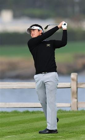 PEBBLE BEACH, CA - FEBRUARY 12:  Ryuji Imada of Japan plays his tee shot on the seventh hole during round two of the AT&T Pebble Beach National Pro-Am at Pebble Beach Golf Links on February 12, 2010 in Pebble Beach, California.  (Photo by Stuart Franklin/Getty Images)