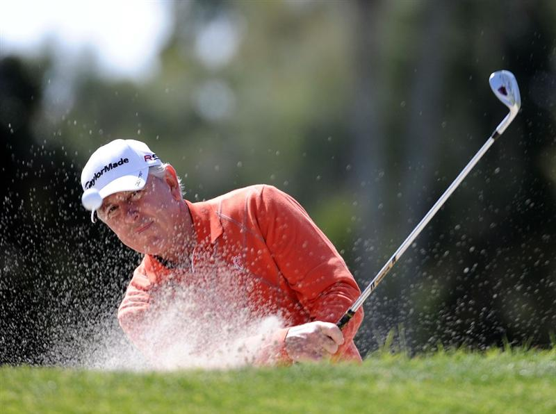 NEWPORT BEACH, CA - MARCH 05:  Hale Irwin hits out of the bunker on the 11th hole during the first round of the Toshiba Classic at the Newport Beach Country Club on March 5, 2010 in Newport Beach, California.  (Photo by Harry How/Getty Images)