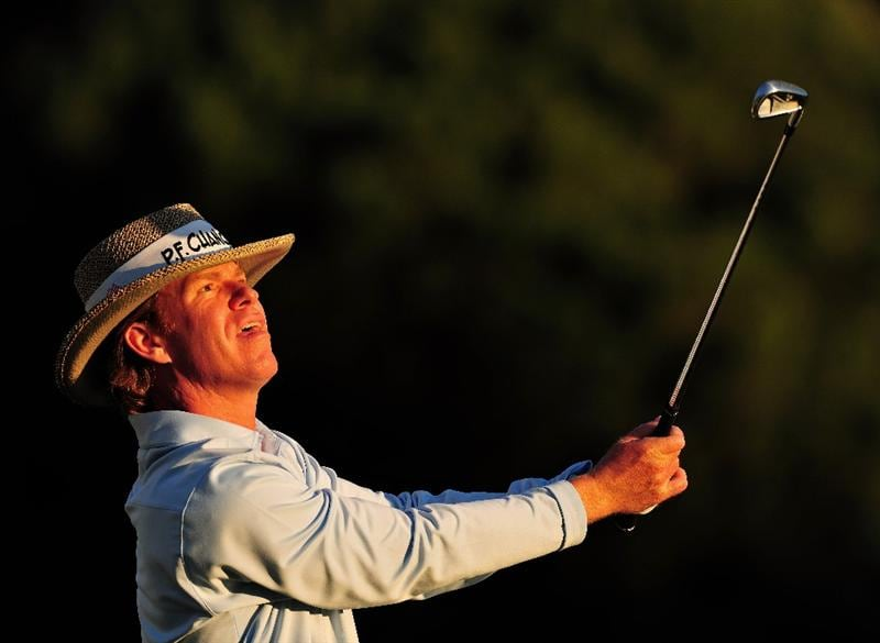 PACIFIC PALISADES, CA - FEBRUARY 19:  Briny Baird of USA plays his tee shot on the 16th hole during the first round of the Northern Trust Open at the Riviera Country Club February 19, 2009 in Pacific Palisades, California.  (Photo by Stuart Franklin/Getty Images)