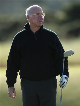 ST.ANDREWS, UNITED KINGDOM - OCTOBER 02:  :  2: Sir Bobby Charlton keeps an eye on his drive on the seventh hole during the first round of The Alfred Dunhill Links Championship at The Old Course on October 2, 2008 in St.Andrews, Scotland.  (Photo by Warren Little/Getty Images)