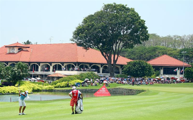 SINGAPORE - MARCH 08:  Katherine Hull of Australia hits her third shot on the ninth hole during the final round of the HSBC Women's Champions at Tanah Merah Country Club on March 8, 2009 in Singapore.  (Photo by Andrew Redington/Getty Images)