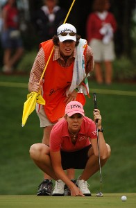 Jill McGill lines up a putt for birdie on the par three 2nd hole during the final round of the LPGA, Inaugural, Ginn Open on Sunday, April 30, 2006 at the Reunion Resort and Club in Reunion, FloridaPhoto by Marc Feldman/WireImage.com