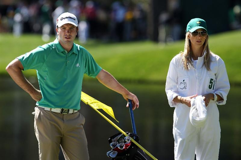 AUGUSTA, GA - APRIL 06:  Martin Laird of Scotland waits with his caddie Meagan Franks during the Par 3 Contest prior to the 2011 Masters Tournament at Augusta National Golf Club on April 6, 2011 in Augusta, Georgia.  (Photo by Andrew Redington/Getty Images)