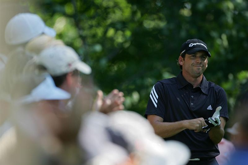NORTON, MA - SEPTEMBER 01:  Sergio Garcia of Spain prepares to hit his drive on the ninth hole during the final  round of the Deutsche Bank Championship at TPC of Boston held on September 1, 2008 in Norton, Massachusetts.  (Photo by Michael Cohen/Getty Images)