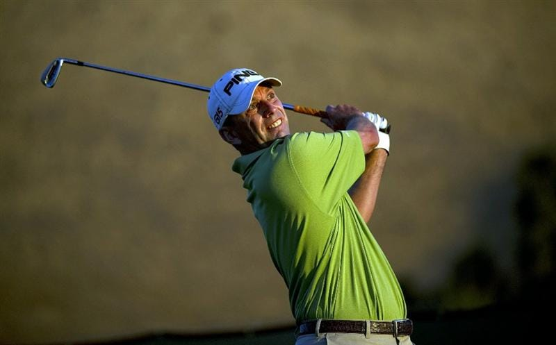 SAN MARTIN, CA - OCTOBER 15:  Kevin Sutherland makes a tee shot on the eleventh hole during the second round of the Frys.com Open at the CordeValle Golf Club on October 15, 2010 in San Martin, California.  (Photo by Robert Laberge/Getty Images)