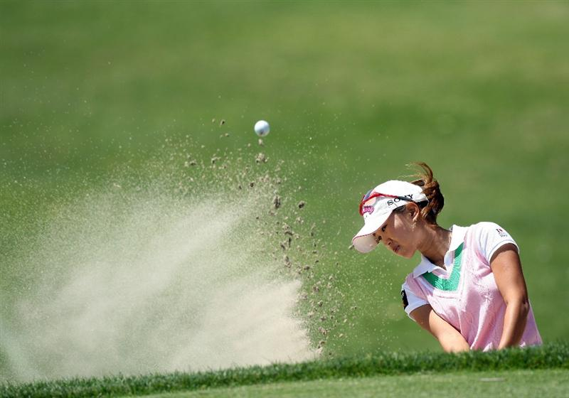 RANCHO MIRAGE, CA - APRIL 03:  Momoko Ueda of Japan plays her second shot at the 8th hole during the second round of the 2009 Kraft Nabisco Championship, at the Mission Hills Country Club on April 3, 2009 in Rancho Mirage, California  (Photo by David Cannon/Getty Images)