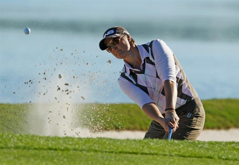 ORLANDO, FL - DECEMBER 05:  Maria Hjorth of Sweden plays a bunker shot on the 18th hole during the final round of the LPGA Tour Championship at the Grand Cypress Resort on December 5, 2010 in Orlando, Florida.  (Photo by Scott Halleran/Getty Images)