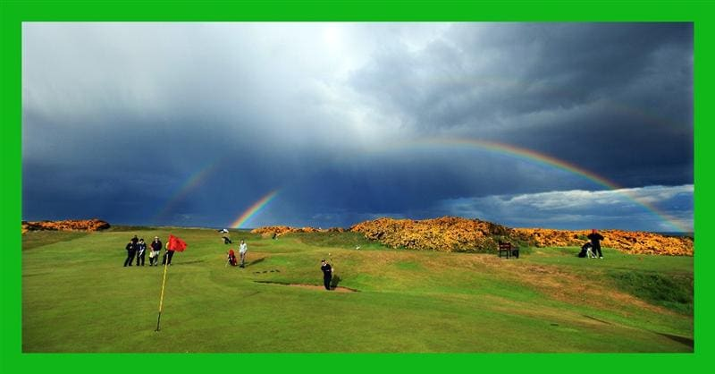 ABERDEEN, SCOTLAND - MAY 12:  Oliver Farr of Wales plays a bunker shot with a rainbow in the sky behind during the 2011 Walker Cup Squad practice session at Royal Aberdeen Golf Club on May 12, 2011 in Aberdeen, Scotland.  (Photo by David Cannon/Getty Images)***BESTPIX***