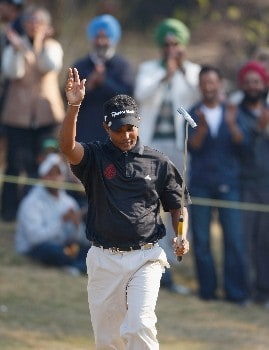 DELHI, INDIA - FEBRUARY 10:  S.S.P.Chowrasia of India celebrates his putt on the 11th hole during the final round of the Emaar-MGF Indian Masters at the Delhi Golf Club, on February 10, 2008 in Delhi, India.  (Photo by Stuart Franklin/Getty Images)