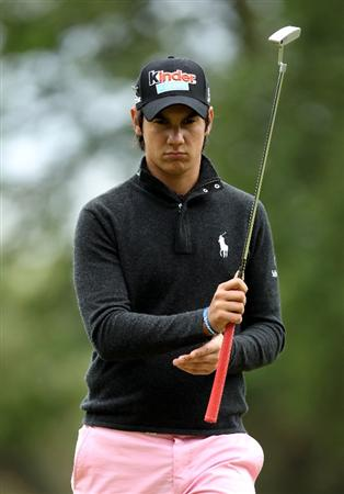 VIRGINIA WATER, ENGLAND - MAY 28:  Matteo Manassero of Italy reacts during the third round of the BMW PGA Championship at the Wentworth Club on May 28, 2011 in Virginia Water, England.  (Photo by Ian Walton/Getty Images)
