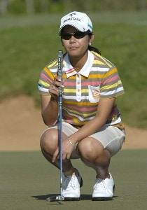 Ai Miyazato lines up a putt on the first green during  the second round  at the 2006 SBS Open at Turtle Bay February 17 at Kahuku, Hawaii.Photo by Al Messerschmidt/WireImage.com