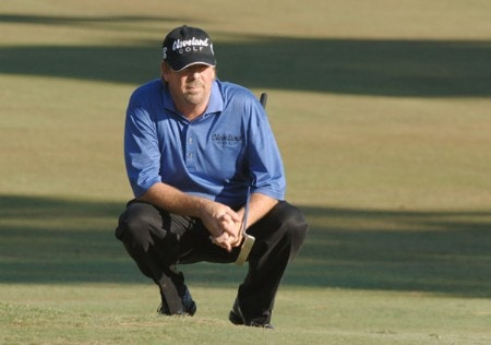 Steve Lowery lines up a putt on the eighth green during the second round of the 2005 Chrysler Championship at the Westin Innsbrook Resort, Copperhead Course in Palm Harbor, Florida on October 28, 2005.Photo by Al Messerschmidt/WireImage.com