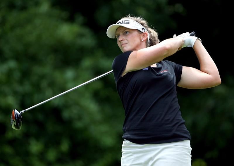 HAVRE DE GRACE, MD - JUNE 13: Angela Stanford hits her tee shot on the 4th hole during the third round of the McDonald's LPGA Championship at Bulle Rock Golf Course on June 13, 2009 in Havre de Grace, Maryland.  (Photo by Andy Lyons/Getty Images)