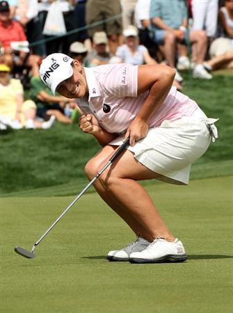 PHOENIX, AZ - MARCH 19:  Angela Stanford reacts as she just misses a birdie putt attempt on the 18th hole during the second round of the RR Donnelley LPGA Founders Cup at Wildfire Golf Club on March 19, 2011 in Phoenix, Arizona. (Photo by Stephen Dunn/Getty Images)