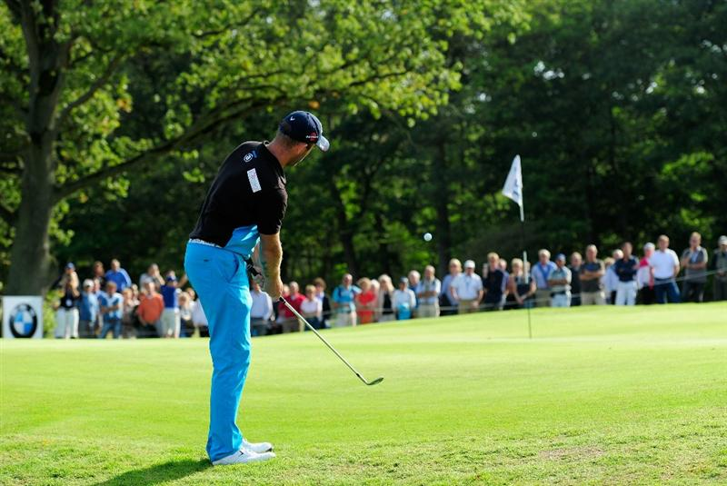 HILVERSUM, NETHERLANDS - SEPTEMBER 11:  Christian Nilsson of Sweden plays his chip shot on the 15th hole during the third round of  The KLM Open Golf at The Hillversumsche Golf Club on September 11, 2010 in Hilversum, Netherlands.  (Photo by Stuart Franklin/Getty Images)